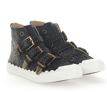 Sneaker SUSANNA High Leder Nieten gold Floral