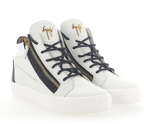 Sneaker MAY Mid Top Leder weiss schwarz Lackleder