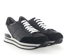 Sneaker H222 Plateau Leder Veloursleder schwarz
