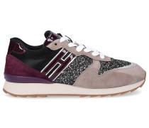 Sneaker Lackleder Textil Veloursleder Glitzer Logo