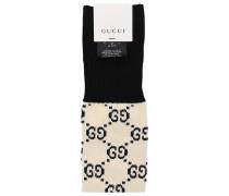 Socken SOCKS LONG G Baumwolle Logo cremeweiß schwarz