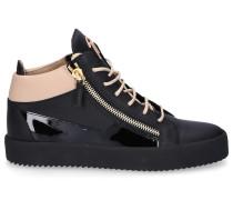 Sneaker high KRISS Glattleder Lackleder Logo nude