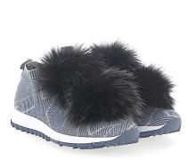 Sneaker NORWAY Stoff blau silber Sternenprint Pompons