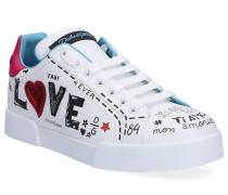 Sneaker low Portofino Kalbsleder Print Stickerei
