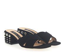 Sandalen A80080 Veloursleder Absatz Nieten silber