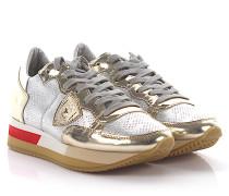 Sneaker Glattleder Kalbsleder Logo gold rot weiß