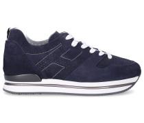Sneaker low H222 Wildleder Lochmuster Logo dunkel