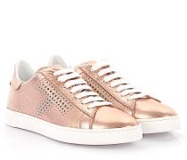 Sneaker Glattleder Kalbsleder Logo rosa