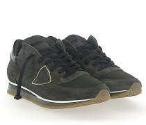 Sneaker TROPEZ Veloursleder Nylon Mesh khaki Leder