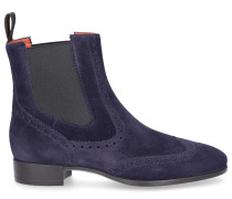 Chelsea Boots 55204 Veloursleder Lochmuster dunkel