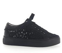 Sneaker low Kalbsleder Nylongaze gewebt Blumenmuster