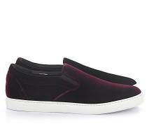 Sneaker low Kalbsleder Samt bordeaux