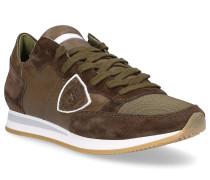 Sneaker TROPEZ Textil Veloursleder Logo Patch khaki