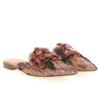 Pantoletten MIA Pailletten Blumen-Deko rosé