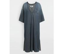 Wadenlanges Kleid Blau Baumwolle