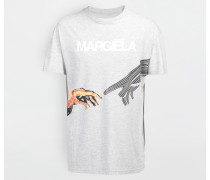 Kurzärmliges T-shirt Hellgrau Baumwolle