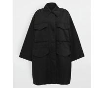 Mittellange Jacke Schwarz Baumwolle