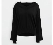 Pullover Mit V-ausschnitt Schwarz Baumwolle