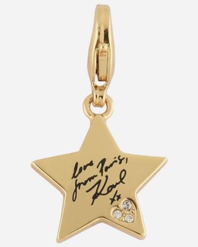 Goldfarbene Karl-Ohrringe mit sternenförmigem Anhänger