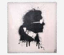 Tuch mit Karl-Profil im Spray-Look und Mini-Nieten