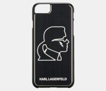 Schwarzes iPhone Case aus Aluminium mit Karl-Kopf