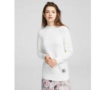Pullover mit Kontraststrick und Logoanhänger