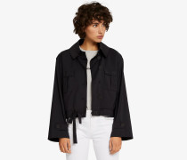 Cropped-Jacke mit Knopfleiste