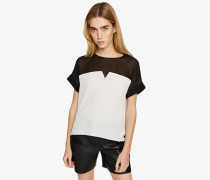 Colorblock-T-Shirt aus Seide