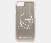 Goldfarbenes iPhone Case aus Aluminium mit Karl-Kopf