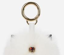 K/Love Schlüsselanhänger mit Fellanhänger und Spiegel