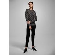 Lurex-Pullover mit Logostreifen