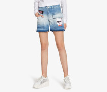W/Patches Denim-Shorts