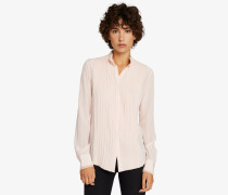 Plastron-Shirt aus Seide mit offenen Kanten