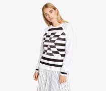 Streifen-Sweatshirt mit Satin-Akzenten