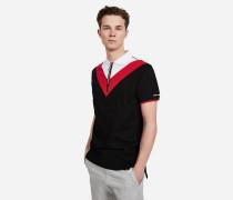 Poloshirt mit Zipper im Colorblock-Design