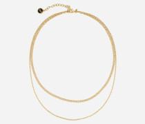 Goldfarbene Halskette mit zwei Reihen