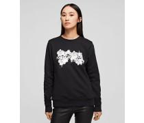 Logo-Sweatshirt mit Orchideen-Motiv