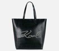 K/Signature Shopper aus Leder mit perforiertem Logo