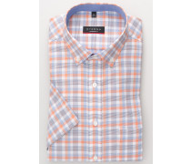 Kurzarm Hemd Modern FIT Oxford Orange/blau Kariert