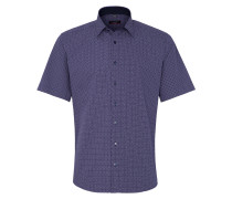 Kurzarm Hemd Modern FIT Popeline Blau/rot Bedruckt