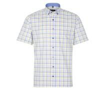 Kurzarm Hemd Modern FIT Oxford Gelb/blau Kariert
