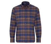 Langarm Hemd Modern FIT Flanell Blau/braun Kariert