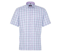 Kurzarm Hemd Modern FIT Twill Flieder/blau Kariert