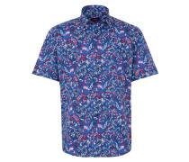 Kurzarm Hemd Modern FIT Popeline Blau/rot/weiss Bedruckt