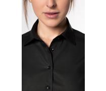 Halbarm Bluse Modern Classic Popeline Schwarz Unifarben