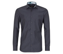 Langarm Hemd Slim FIT Chambray Graphit Grau Unifarben