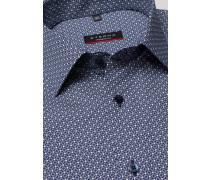 Langarm Hemd Modern FIT Popeline Marine/weiss Bedruckt