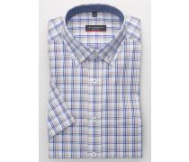Kurzarm Hemd Modern FIT Oxford Blau/beige Kariert
