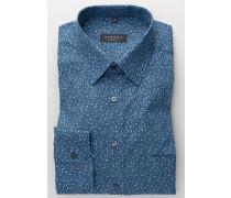 Langarm Hemd Comfort FIT Popeline Blau Bedruckt
