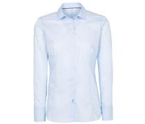 Langarm Bluse Slim FIT Stretch Hellblau Unifarben